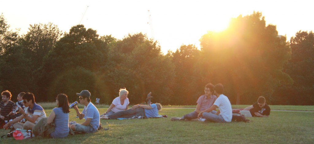 Primrose Hill Park relaxing in the evening sun