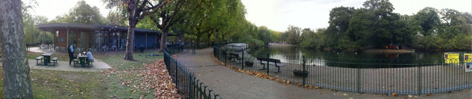 Finsbury Park pond, path & picnic panorama