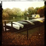 Finsbury Park, boats on the shore of the pond